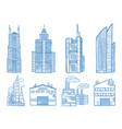 different modern building with offices industry vector image vector image