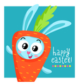 Easter greeting card template with bunny in carrot vector image vector image