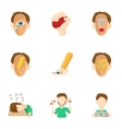 Emotions icons set cartoon style vector image vector image