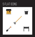 flat icon farm set of barbecue spade tool and vector image vector image