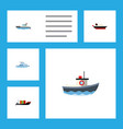 flat icon vessel set of sailboat cargo tanker vector image vector image