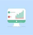 flat monitor icon statistics analysis vector image