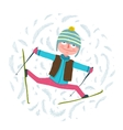 Funny Colorful Skier Exercising in Winter Clothes vector image