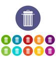 garbage bin icons set flat vector image vector image