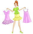 Girl choosing or showing a dress to wear vector image vector image