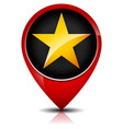 glossy golden star in red map marker eg favorite vector image