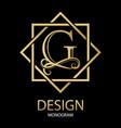 golden letter g monogram on black vector image vector image