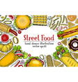 hand drawn colorful fast food banner street food vector image vector image