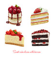 hand drawn delicious cake slices set vector image vector image