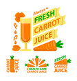 healthy carrot juice badge emblems vector image vector image