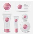 identity beauty cosmetic logo tubes mockup vector image