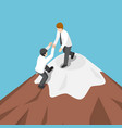 isometric businessman help each other climb to vector image