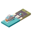 isometric ferry port vector image vector image