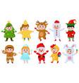 kids in christmas costumes cartoon children vector image