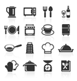 Kitchen and cooking icons white vector image vector image