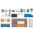 kitchen interior elements icons set vector image