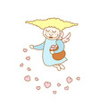 little cartoon flying girl with hearts vector image vector image