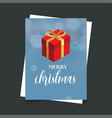 merry christmas gift box blue background vector image vector image