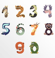 Numbers like North America animals vector image vector image
