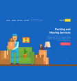 packing and moving services landing page template vector image vector image