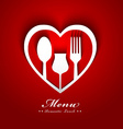 romantic lunch menu design vector image vector image
