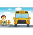 school bus and boy vector image vector image