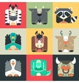 Set flat square icons of a cute animals vector image