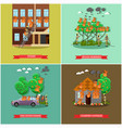 set of fireman posters in flat style vector image vector image