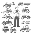 Tractor Driver Icons vector image vector image