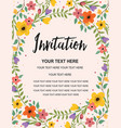 whimsical floral colorful invitation card template vector image vector image