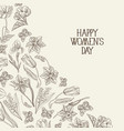 white and black happy womens day postcard vector image