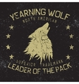 wolf howling at moonvintage label vector image vector image