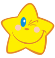 yellow star winking vector image vector image