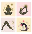 yoga girls various asanas women with sun moon vector image