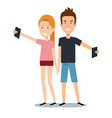 young man and woman holding smartphone using by vector image