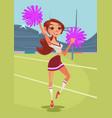 happy smiling teen cheerleader girl dancing vector image