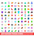 100 fashion things icons set cartoon style vector image vector image
