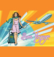 beautiful girl with a ticket for the flight vector image vector image