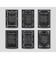 Black chalkboard cards with vintage frame vector image vector image