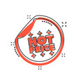 cartoon hot price shopping icon in comic style vector image