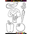 cartoon vegetables set for coloring book vector image vector image