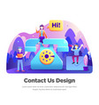 contact us modern flat design vector image