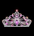 crown tiara women with glittering precious stones vector image vector image