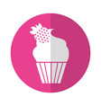 cupcake with a strawberry on the top vector image vector image