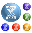 dna formula icons set vector image