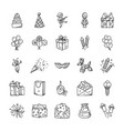 Doodle icons set of celebration and party