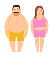 Fat exercising man and woman vector image vector image