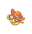 Female smiley face emoticon in hat