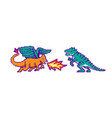 fire dragon and dinosaur fight or battle vector image vector image