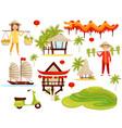 flat set of cultural symbols of vietnam vector image vector image